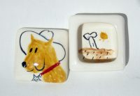 Yellow Cowboy Dog Ringbox - #2013 Kathryn Blackmun ceramic $23