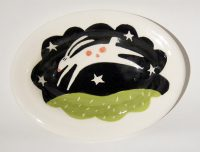 Leaping Rabbit oval dish #2019 Kathryn Blackmun  ceramic $39