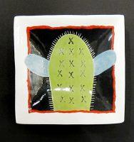 """Saguaro Dish  #2042 Kathryn Blackmun  4.5"""" x 4.5"""" ceramic $39"""