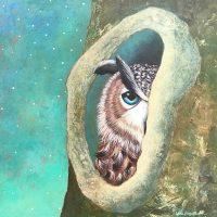 "On the Lookout Lori Faye Bock  16"" x 16"" acrylic on panel $1575"