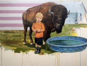 """New Boots and the Dangers of Drowning by Brian Boner, 40"""" x 53"""", oil on canvas"""
