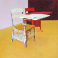 "Untitled (Red Desk) Brian Boner 33.5"" x 33.5"" oil on canvas"