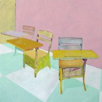 "Three Desks in Pink Room Brian Boner 55"" x 55"" oil on canvas $4850"