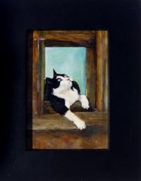 """Thinking Sheridan Brown 3"""" x 2"""" oil and alkyd on panel $250"""