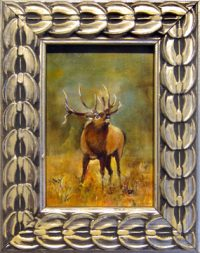 """Bugling Sheridan Brown 3"""" x 2"""" oil and alkyd on panel $250"""