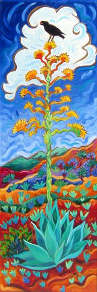 "Agave Berry Cathy Carey 30"" x 10"" oil on canvas $900"