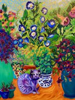 """Cat's Garden Cathy Carey 30"""" x 24"""" oil on canvas $1980"""