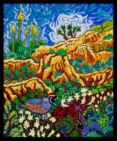 """Quail in a Canyon Cathy Carey 21"""" x 25"""" oil on canvas $1560"""