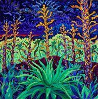 "Cosmic Agave Cathy Carey 30"" x 30"" oil on canvas $2530"