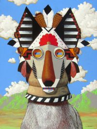"Vertically Through Time (Coyote) Timothy Chapman 24"" x 18"""