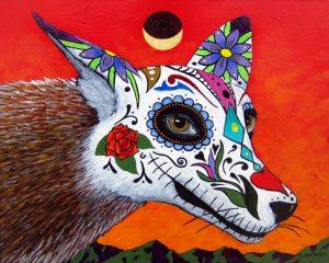 """Dia de los Muertos (coyote) by Timothy Chapman, 8"""" x 10"""", acrylic on panel"""