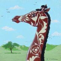 "Unknown Giraffe Species Timothy Chapman 6"" x 6"" acrylic on panel $250"