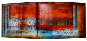 "Inspire IIJosiane Childers16"" x 40"" x 5.5""reverse painted plexi in steel frame$2300 by"