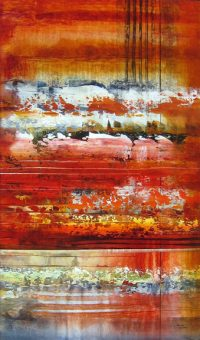 "Foretell Josiane Childers 34"" x 20"" mixed media on canvas $1640"