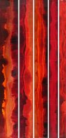 """Red Fades 1-5 Robert Charon 60"""" x 27"""" mixed media on panel $3600"""
