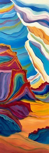 """Rainbow Cloud Column Judy Choate 60"""" x 20"""" acrylic on canvas $2125"""
