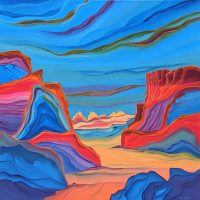 """Canyon Passage Judy Choate 36"""" x 36"""" acrylic on canvas $2275"""