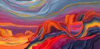 """Rainbow Day Judy Choate 24"""" x 48"""" acrylic on canvas $2275"""