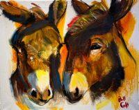 "Donkey Love Bill Colt 16"" x 20"" acrylic on canvas $275"