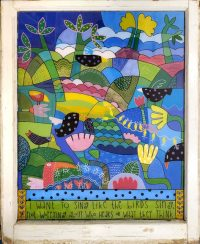 """9 Birds on Patchwork Melinda D. Curtin 34"""" x 28"""" reversed painting on glass $1300"""