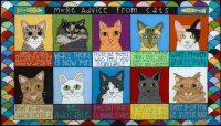 """More Advice From Cats Melinda D. Curtin 17"""" x 35"""" reversed painting on glass $895"""