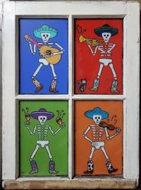 """Mariachis Melinda D. Curtin 27"""" x 20"""" reversed painting on glass $650"""