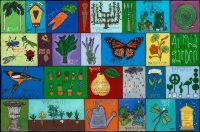 "Alphagarden (alphabet) Melinda D. Curtin 23"" x 34"" reversed painting on glass $1175"