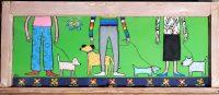 "Dog Walk Melinda D. Curtin 15"" x 35"" reversed painting on glass $950"