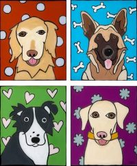 """Four Dogs Melinda D. Curtin 29"""" x 24"""" reversed painting on glass $650"""