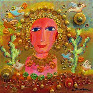 "Prickly Pear Icon</em>Charles Davison by Charles Davison12"" x 12""mixed media"