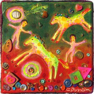 "Free Falling by Charles Davison, 8"" x 8"", mixed media"