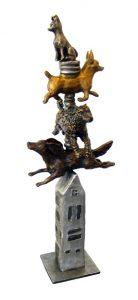 """Doghouse by Barbara Duzan, 19"""" x 7"""" x 7"""", bronze"""