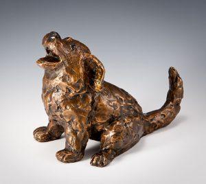 "Happy Puppy   by Barbara Duzan, 14"" x 7"" x 4"", bronze"