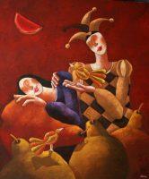 """Delirio  Jose Echeverria  54"""" x 47"""" oil on canvas $4700"""