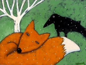 "Red Fox by Jaime Ellsworth, 18"" x 24"", acrylic on panel"
