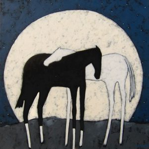 """Moonrise by Jaime Ellsworth, 36"""" x 36"""", acrylic on canvas"""