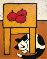 "Three Tomatoes and a Cat Jaime Ellsworth 20"" x 16"" acrylic on canvas $775"
