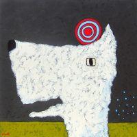 """Croquet Jaime Ellsworth 36"""" x 36"""" mixed media on canvas $2700"""