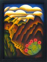 "Dreamy Desert Valley Sushe Felix 17.5"" x 13.5"" acrylic on panel $1150"