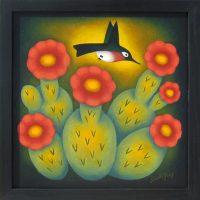 """Prickly Treats Sushe Felix 13.25"""" x 13.25"""" acrylic on panel $1000"""