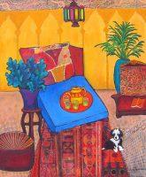 "At Home in Fez Judy Feldman 30"" x 24"" mixed media $1850"