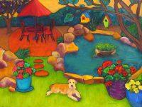 "Cleo's Backyard Judy Feldman 30"" x 40"" oil on canvas $3100"