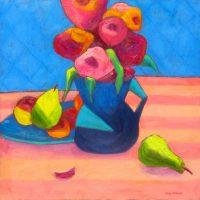 """Flowers and Fruit Judy Feldman 24"""" x 24"""" oil on canvas $1250"""