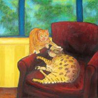 """Cat Chat Judy Feldman 20"""" x 20"""" oil on canvas $925"""