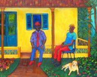 "Cuban Conversation Judy Feldman 24"" x 30"" oil on canvas $1550"