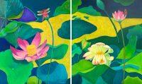 """Lotus Flower I and II Judy Feldman 36"""" x 60"""" oil on canvas $5500"""