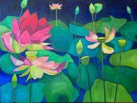 """Lotus Flower III Judy Feldman 30"""" x 40"""" oil on canvas $3100"""