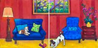 """In the Red Room I and II Judy Feldman 12"""" x 24"""" oil on panel $750"""