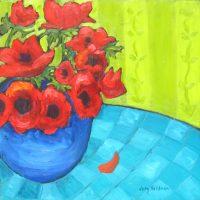 "Red Poppies Judy Feldman 12"" x 12"" oil on panel $375"