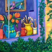 "The Artist's Wndow Judy Feldman 24"" x 24"" oil on canvas $1250"